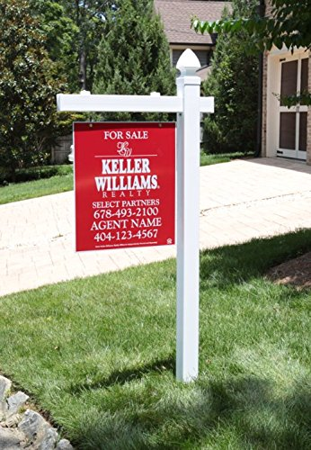 Vinyl PVC Real Estate Sign Post - White - 6' Tall - Yard Signs Decorative