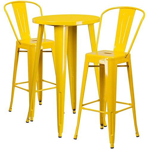 Flash Furniture 24'' Round Yellow Metal Indoor-Outdoor Bar Table Set with 2 Cafe Stools from Flash Furniture
