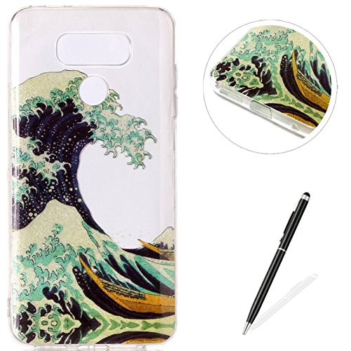 MAGQI LG G6 Case Flexible Ultra Thin Soft Gel TPU[Black Stylus Pen] Bumper Protective Cover IMD Anti-Scratch Shock-Absorption Silicone for LG G6-Waves - Green Brown New Wave