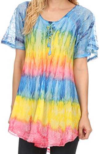 Manches Top Long Monet Jaune Blouse Turquoise Sakkas Ombre Tall Shirt Casquette Dye Tie Brode PZ48wqnxg