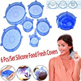 IUNIQEE Silicone Stretch Lids Food Fruit fresh Saving Covers Bowl Lid 6 pcs/set Food Saving Lids for Preserving Leftover Fruits and Vegetable Suitable for Any Different Sizes of Containers