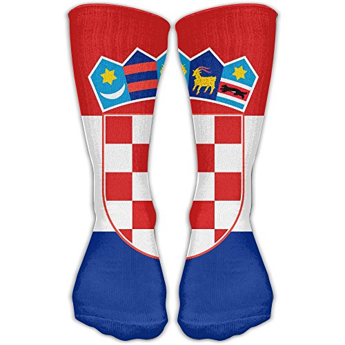WEEDKEYCAT Stripe Croatia Flag Knee High Socks for Mens Womens Adult Cotton Fun Long Socks for Yoga Hiking Cycling Running Soccer Sports