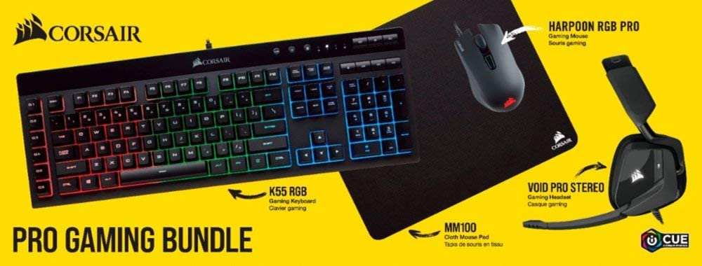 Corsair - Pro Wired Gaming Bundle with RGB Back Lighting - Black Includes K55 Keyboard, Harpoon RGB Pro Mouse. MM100 Mouse pad, Void PRO Stereo Headset