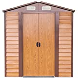 papabox 6'x5' Outdoor Storage Shed Large Backyard Garden Garage Utility Tool Kit Building w/ Door Wood Color