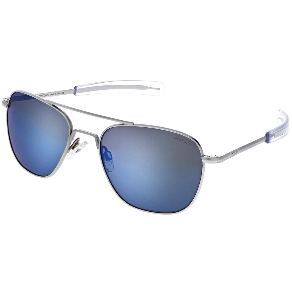 Aviator Sunglasses for Men or Women - Randolph Engineering Sunglasses - Guaranteed for Life, Built to Military Specifications. Authentic Pilot Aviators. Made in USA. Matte Chrome, Atlantic Blue, 55mm by Randolph Engineering