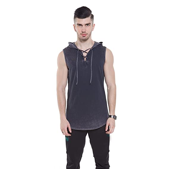 80cc5dc4730223 Luobote Men Hoodie T Shirt Sleeveless Heather Lace up V Neck Cool Muscle Hipster  Tank at Amazon Men s Clothing store