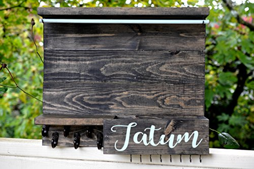 Rustic Wood Jewelry and Bedroom Organizer Wall Mounted Shabby Chic Jewelry Holder Engraved Name Personalized Storage