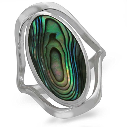 Abalone Iris (Abalone/Paua Shell 925 Sterling Silver Simple Southwest Style Ring Size 7)