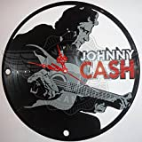 DIY JOHNNY CASH Decorative Designed Modern Vinyl Record Wall Clock Silent Large New Bedroom Livingroom Office Decore Analog Universal Decorate your home Best gift for friend, girlfriend or boyfriend For Sale
