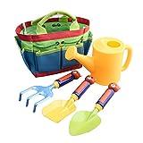 Kearui Kids Garden Tool Set Childrens Gardening Tools Set Gardening Tote Set Outdoor Beach Toy Set with Mini Hand Rake Shovel Tools Watering Can Toy (5 Pieces)