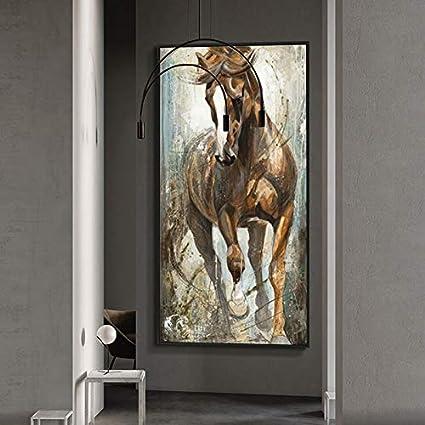 YuanMinglu Moderno nórdico Gran tamaño Abstracto Caballo Pared Pintura al óleo Animal Pintura decoración del hogar Lienzo póster e impresión Pintura sin Marco 60x120 cm