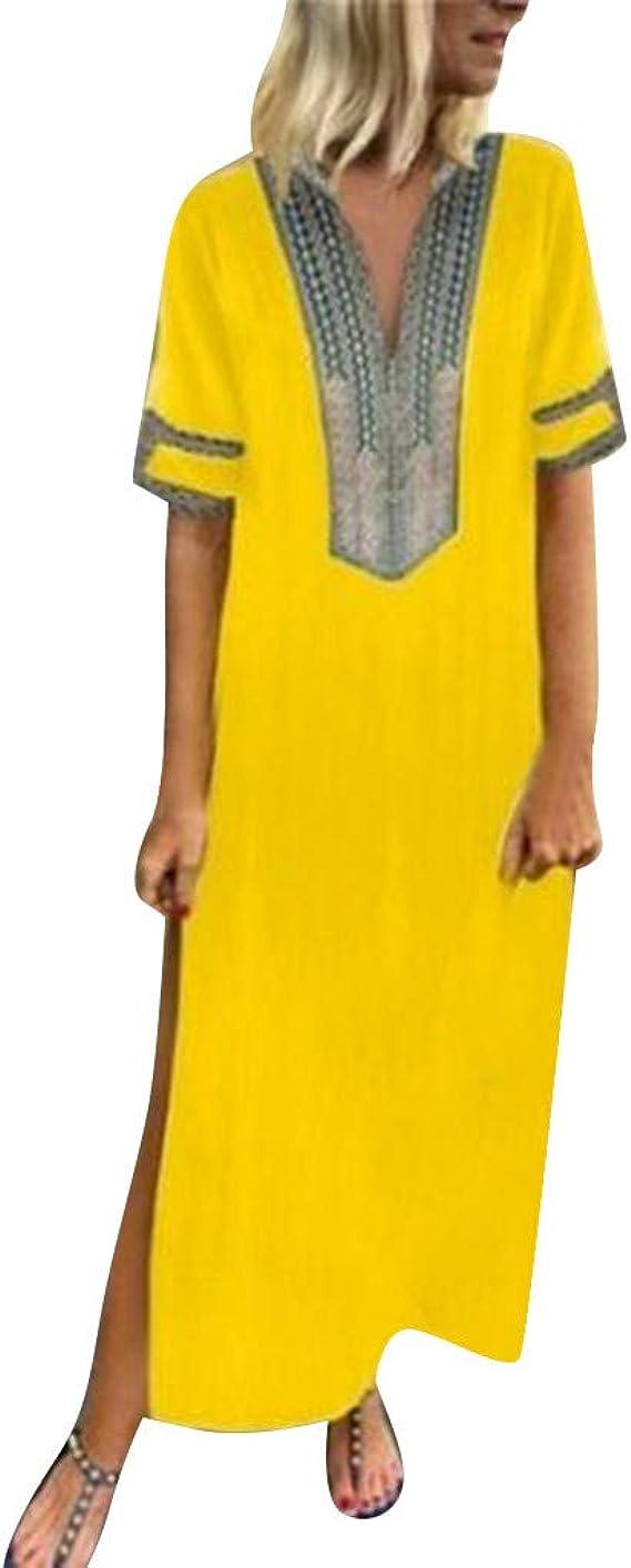 Sommerkleider Damen Langes Kleider Große Größen,Frauen Vintage Gedruckt  Langarm V-Ausschnitt Maxi-Kleid Saum Baggy Kaftan Langes Kleid Maxikleid