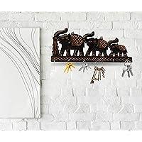 Fine Craft India Elephant Family Wooden Key Holder Decorative Showpiece Key Hook Organizer Best Gifting Home Decor