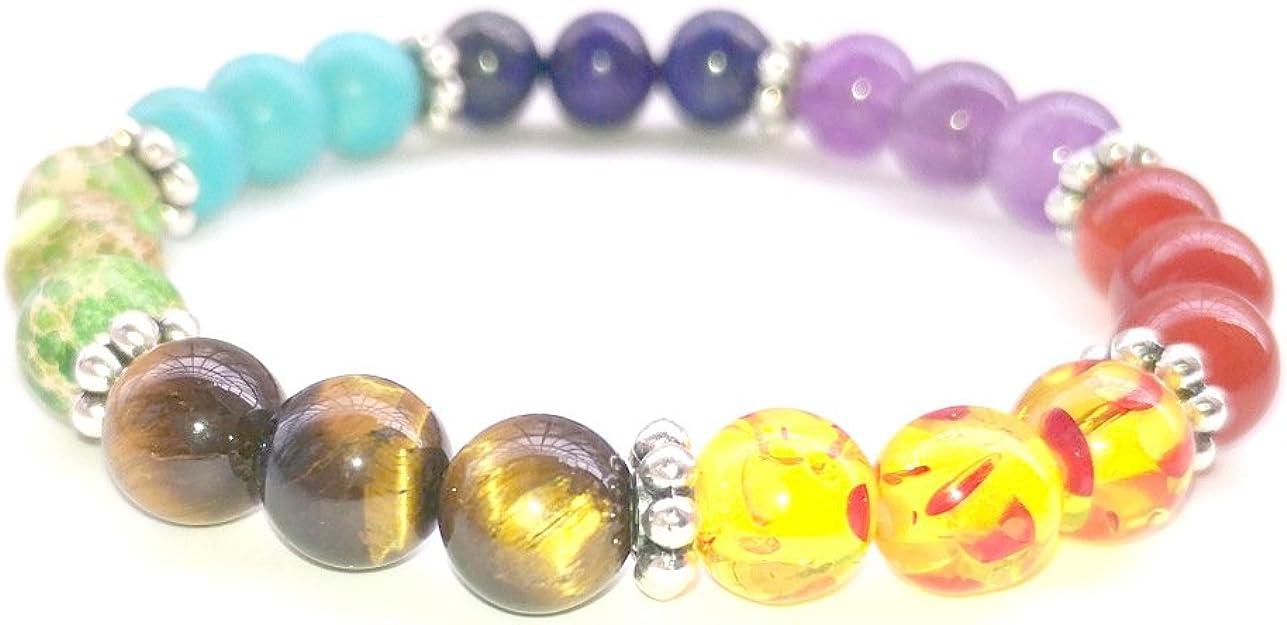7 Chakra Edelstein Natur Stein Lava Perlen Reiki Heilende Wirkung Yoga Gebet Armband Amazon De Schmuck
