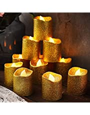 24 Pieces Flameless Votive Candles Tea Lights Candles Glitter LED Candles Battery Operated Candles Fake Candles for Gold Party Decorations Table Wedding Christmas Anniversary Supplies
