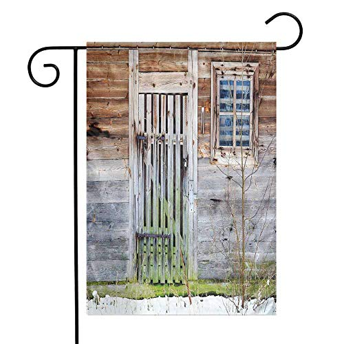 Mannwarehouse Primitive Country Decor Garden Flag Neglected Old Farmhouse Rustic Wooden Door and Window Rural Premium Material W12 x L18 Brown Green Silver