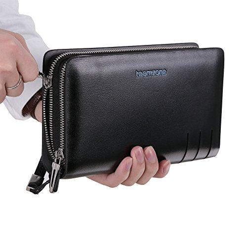 Wallet Coin Black Card Holder Clutch Teemzone Handbag Leather Organizer Mens Real vw0qXTU