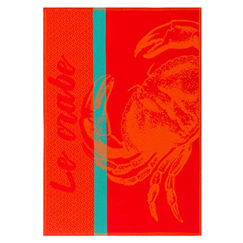 - COUCKE French Cotton Jacquard Towel, Crabe (Crab) Rouge, 20-Inches by 30-Inches, Red