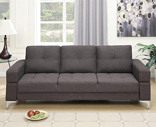Poundex Ale Ash Black Polyfiber Adjustable Sofa Bed