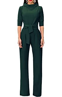 e07dc9e93d Indistyle Women s Elegant Wide Leg Long Pants Short Sleeves Jumpsuits  Rompers with Belt