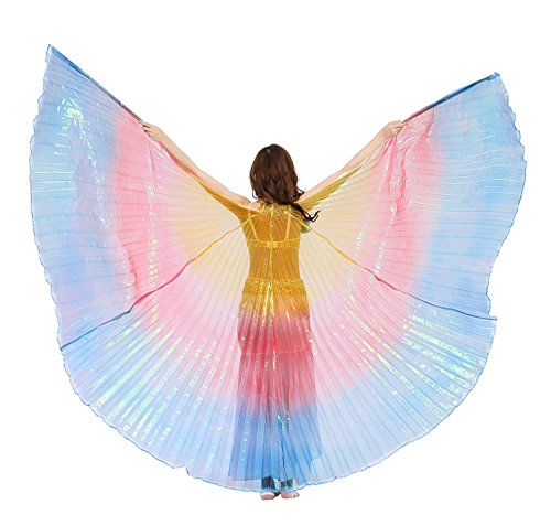 Wings Fairy India Costume (Dance Fairy Belly Dance Isis Wings(Yellow,Red and Royal Blue Mixed No.11)(no)