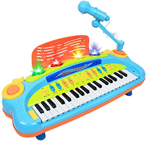 Kiddie Play Electronic 37-Key Toy Piano Keyboard for Kids with Real Working Microphone and Colorful Lights (with USB Adapter)