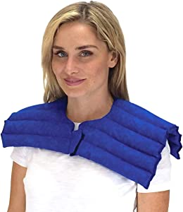 Upper Body Wrap for Neck & Shoulder – Stiff Neck, Muscle Strain Relief – Microwavable Heating Pad Hot/Cold Therapy by Nature Creation (Blue Marble)