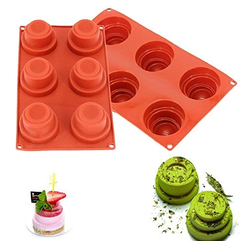 Wewin 6 Cavity Spiral Tower Shaped 3D Wine Red Silicone Cake Mold Baking Decoration Tools Pudding Mousse Mould