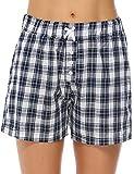Aibrou Womens Pajama Shorts Cotton Plaid Sleep Shorts Lounge Boxer with Pockets (Blue, Large)