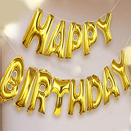 GrandShop Happy Birthday Letters Foil Toy Balloons, Golden (Pack of 13 Letters) Balloons at amazon