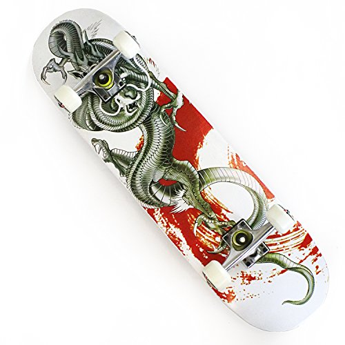 """OneHype - Pro Complete Skateboard Metal Dragon White 31"""" x 8 inch Maple Wood Deck, Black Aluminum Trucks, Ultra Smooth ABEC 7 Bearings"""
