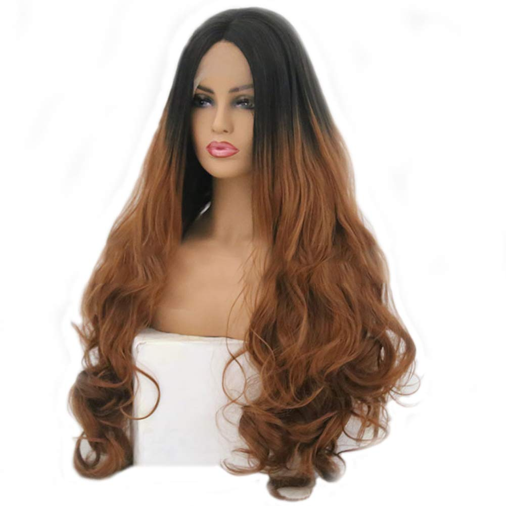Front Lace Long Curly Wig Female, Natural Fluffy Big Curly,Braun,20inches/51cm