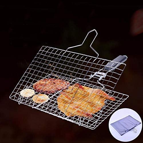 MMUY BBQ en Acier Inoxydable Panier Barbecue, Portable Pliant Barbecue Panier, détachable, carré de légumes grillés Panier grillé Filet de Poisson
