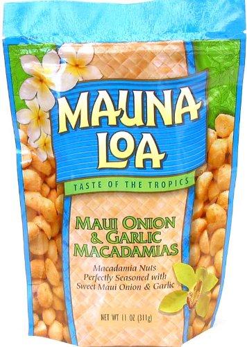 Mauna Loa Maui Onion & Garlic Macadamia Nuts, 11-Ounce Bag (Pack Of 12)