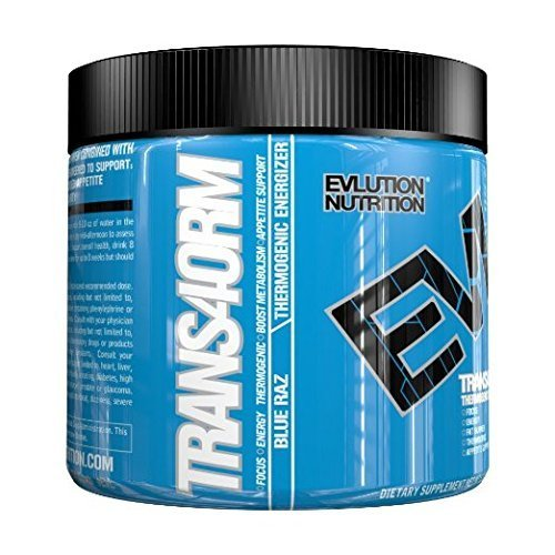 Evlution Nutrition Trans4orm Thermogenic Energizer Powder, Blue Raz, 30 Servings (5.2 Ounce)