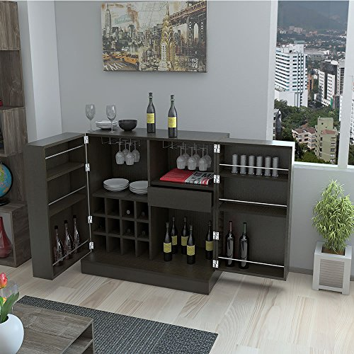 Bar Buffet Sintra With Wine Storage And 2 Explandable Side Cabinets, 12 Bottles Capacity Storage, Espresso - Wengue