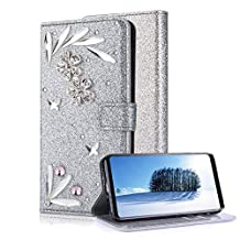 Samsung Galaxy Note 9 Silver Wallet Case With Screen Protector,Aearl Samsung Galaxy Note 9 Bling Crystal Diamond Flowers Feather Design Flip Kickstand Card Slot Holder magnetic Leather Cover Full Body Soft Silicone Back Phone Case
