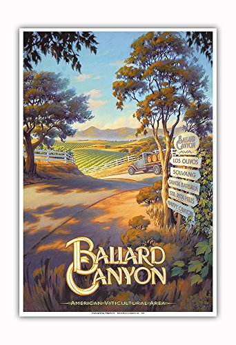 Pacifica Island Art - Ballard Canyon Wineries - Central Coast AVA Vineyards - California Wine Country Art by Kerne Erickson - Master Art Print - 13in x 19in