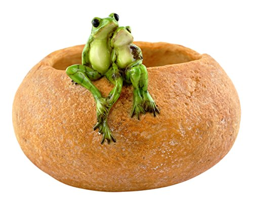 (Top Collection Garden Frog Lovers On Large Functional Stone Flower Pot Planter Figurine)
