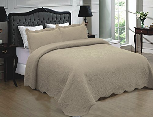 (Mk Collection 3pc Quilted bedspread Embroidery Solid 100% Cotton New (Full/Queen, Taupe) )