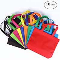 Homyu 10-Pack Gift Tote Reusable Bags Travel To-Go Food Containers Non-woven Fabric Party Tote Bags Reusable Shopping Grocery Bags with Handles -10 Colors (A)