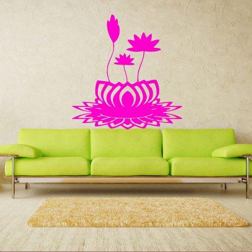 Wall Decal Art Decor Decals Sticker Flower Lotus Beauty Plant Longevity Luck Symbol Cleanliness Heart Mind Tibet India (M125)
