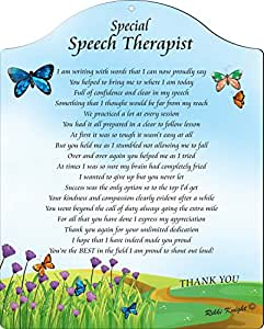 Rikki Knight Thank You Speech Therapist - Pretty Scenic View with Butterflies Touching 8x10 Poem Plaque with Arch Top