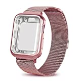 AdMaster for Apple watch band 42mm, Stainless Steel Mesh Milanese Sport Wristband Loop with Apple Watch Screen Protector for iWatch Series 1/2/3 Rose Gold