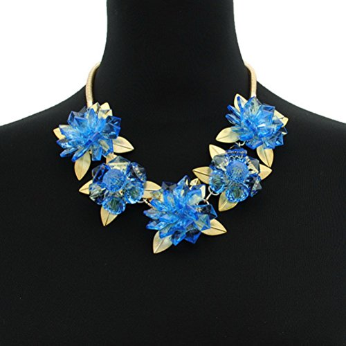 [Superhai Transparent Blue Crystal Gem Exaggerated Metal Leaf Flower Short Chain Necklace Female Dress] (Tiffany Blue Costume Jewelry)