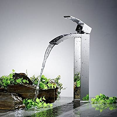 Greenspring Tall Spout Brass Bathroom Sink Vessel Faucet Basin Mixer Tap,Chrome Finished