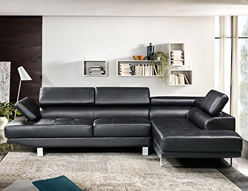 Harper&Bright Designs 2 Pieces PU Leather Sofa Living Room Furniture Adjustable Armrest and Support (Black)