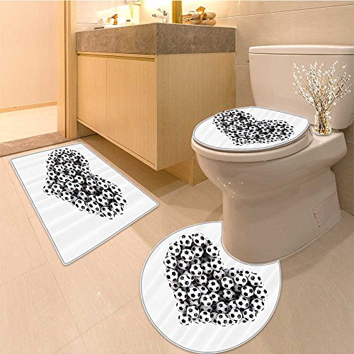 Amazon com: 3 Piece Toilet mat set Collection Heart from the