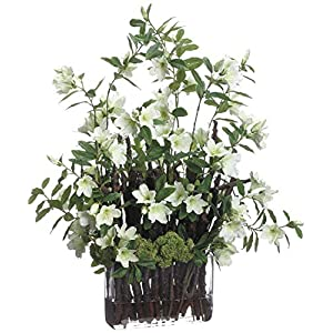 Innovations Lifelike White Azalea Floral Arrangement with Twigs 9