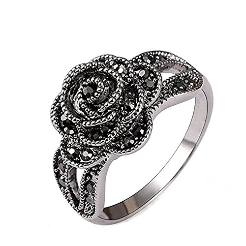 Crystal Silver Rings - Yfnfxl Retro Vintage Rose Flower Ring Fashion Black Marcasite Silver Crystal Anniversary Rings